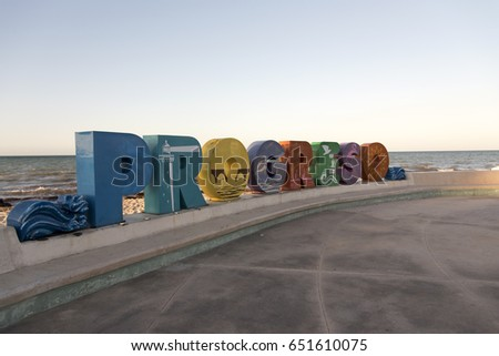 PROGRESO, MEXICO - JANUARY 27,2017: Sign at the pier in Progreso Mexico,January 27,2017.