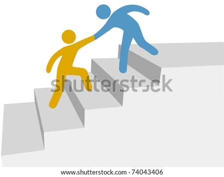 Progress and collaboration as friend helps friend climb up improvement stairway - stock photo