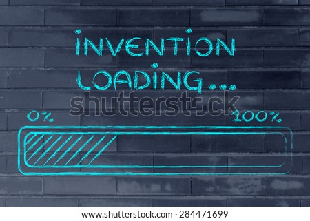 progress bar, funny design with concept of invention loading - stock photo