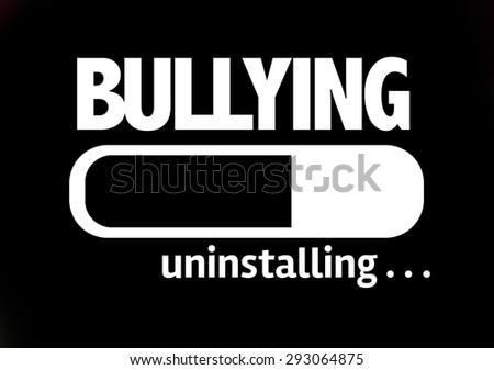 Progress Bar Uninstalling with the text: Bullying  - stock photo