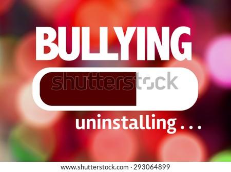 Progress Bar Uninstalling with the text: Bullying  - stock photo