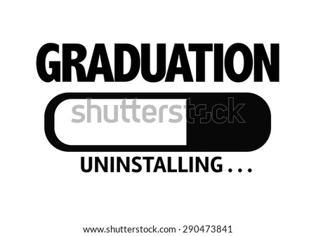 Progress Bar Uninstalling with the text: Graduation - stock photo