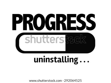 Progress Bar Uninstalling with the text: Progress - stock photo