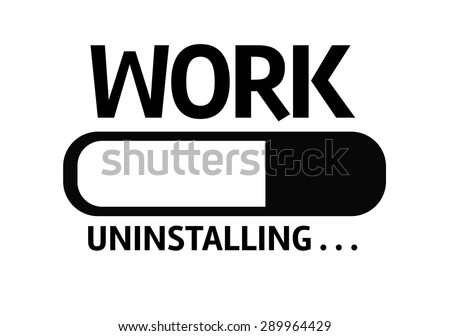 Progress Bar Uninstalling with the text: Work - stock photo