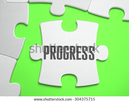 PROGRESS - Jigsaw Puzzle with Missing Pieces. Bright Green Background. Close-up. 3d Illustration. - stock photo