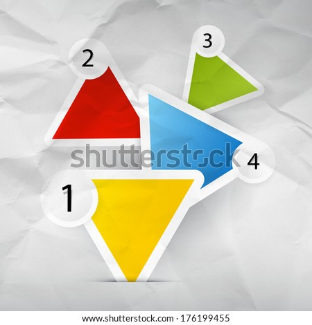 Progress Steps for Tutorial, Infographics - Web Template on Crumpled Paper Background