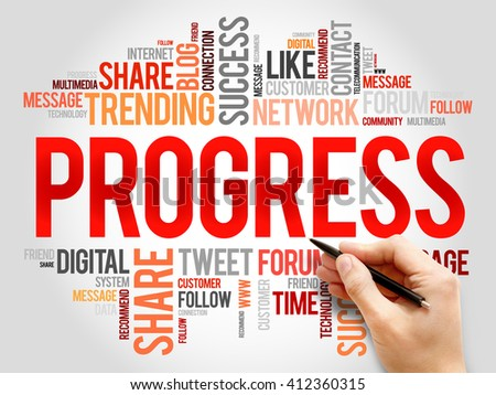 Progress word cloud, business concept - stock photo