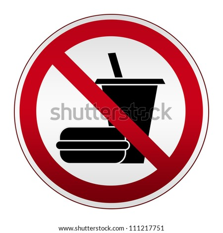 Prohibited Circle Silver Metallic and Red Metallic Border With No Food or Drink Sign Isolate on White Background - stock photo