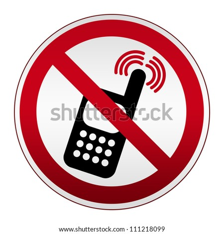Prohibited Circle Silver Metallic Turn Off Mobile Phone Sign Isolated on White Background - stock photo
