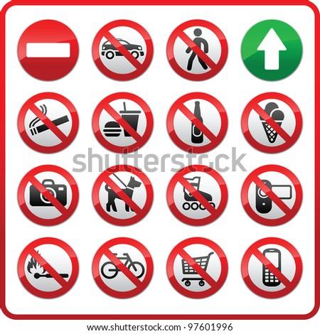 Prohibited symbols set - stock photo