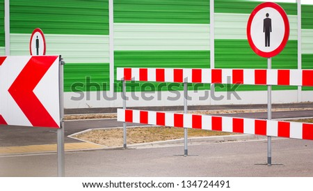 Prohibition road signs - stock photo
