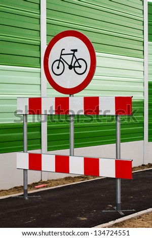 Prohibition sign for cycling - stock photo
