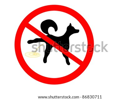 Prohibition sign for dog pee - stock photo