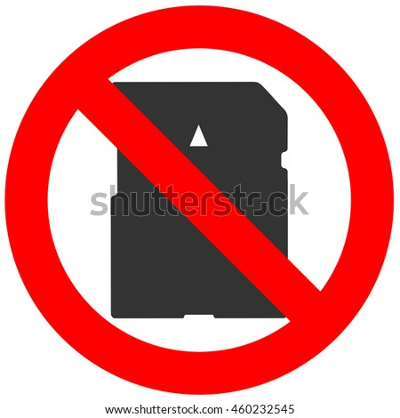 Prohibition sign with memory card icon isolated on white background. Memory card is forbidden illustration. Using memory card is not allowed image. Memory cards are banned.