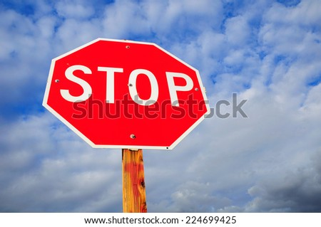 Prohibitory stop traffic sign under cloudy sky. Nevada State. USA.