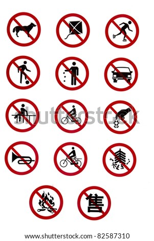 Prohibitory Traffic Signs - Forbidden by Regulations - stock photo