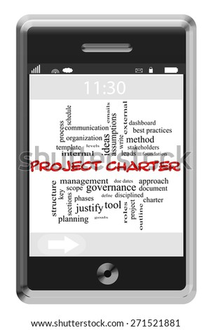 Project Charter Word Cloud Concept on a Touchscreen Phone with great terms such as leads, manage, scope and more. - stock photo