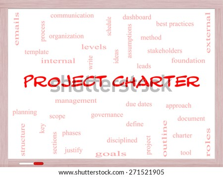 Project Charter Word Cloud Concept on a Whiteboard with great terms such as process, leads, method and more. - stock photo