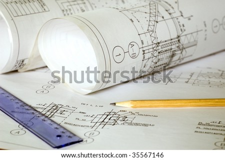 Project drawing up, estimate calculation, designing of a warehouse complex. - stock photo