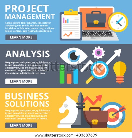 Project management, analysis, business solutions set. Creative modern flat design concepts for web banners, web sites, printed materials, infographics. Flat illustration - stock photo