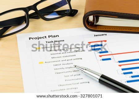 Project management and gantt chart with glasses and pen
