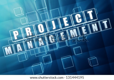 project management - text in 3d blue glass cubes with white letters, business concept - stock photo