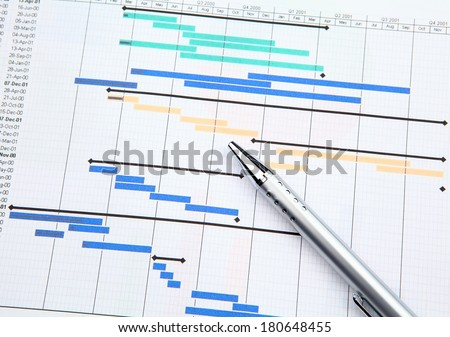 Project management with gantt chart - stock photo