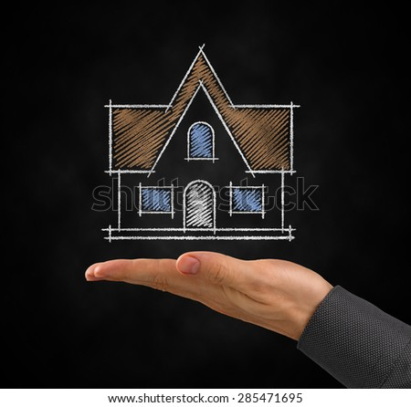Project of a Home. Drawing of a symbolic private house under the facing up palm of a men's hand. Photo and graphic compositing.  - stock photo