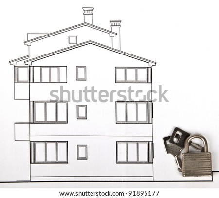 project of a house with keys - stock photo