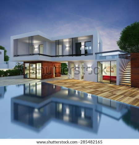 Project of a luxury villa in 3d - stock photo