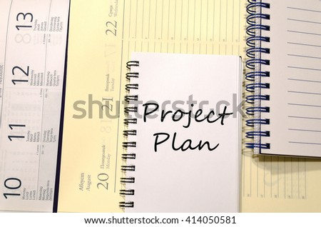Project plan text concept write on notebook