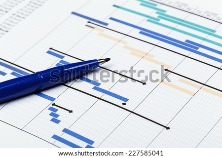 Project plan with pen - stock photo