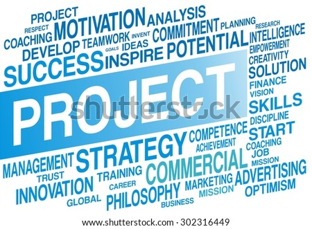 PROJECT word cloud concept in blue color