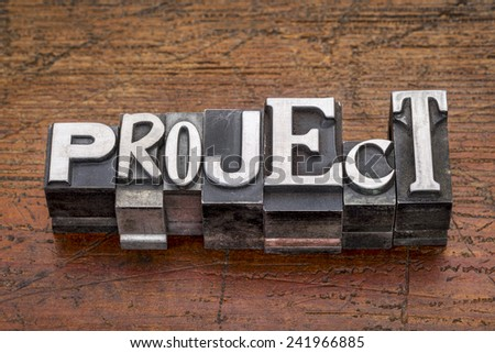 project word in mixed vintage metal type printing blocks over grunge wood - stock photo