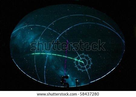 projection of a night sky in a planetarium