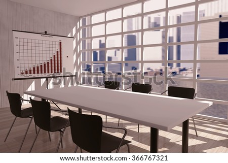 Projection Screen, Table and Chairs in Office Room. 3d rendering - stock photo