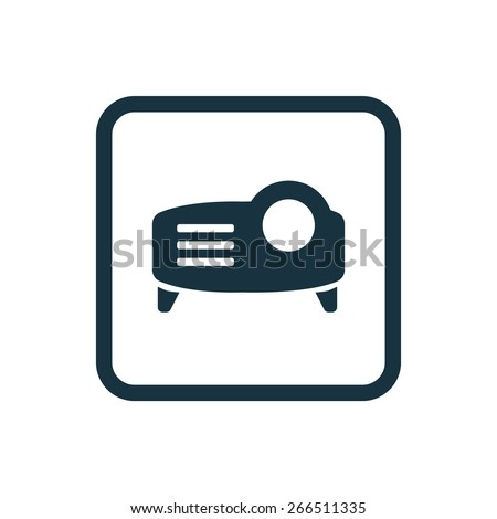 projector icon Rounded squares button, on white background  - stock photo