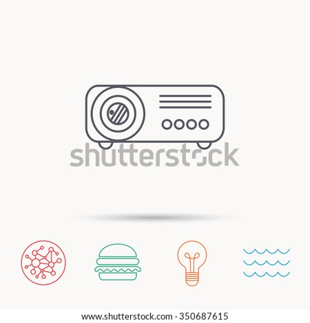 Projector icon. Video presentation device sign. Business office conference tool symbol. Global connect network, ocean wave and burger icons. Lightbulb lamp symbol. - stock photo