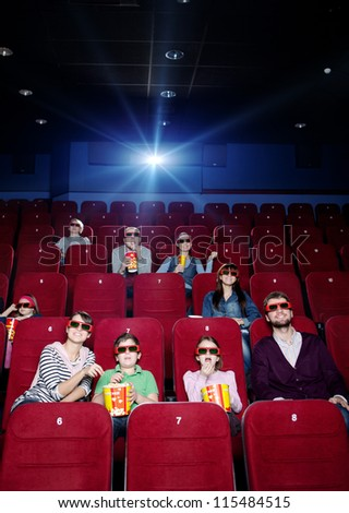 Projector light in the movie theater - stock photo