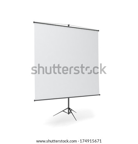 Projector screen and roll up banner illustration Isolated on white background. - stock photo