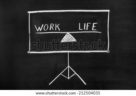 Projector screen drawn on the blackboard. The display shows text. - stock photo