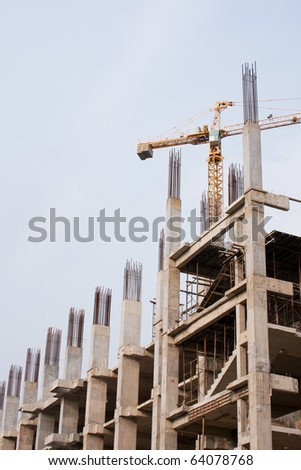 Projects currently under construction skyscraper In the range of operation. - stock photo