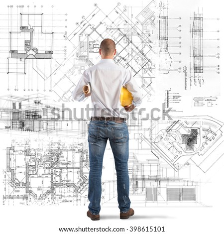 Projects of a building - stock photo