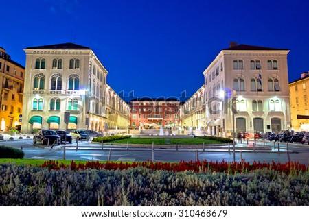 Prokurative square in Split evening view, Dalmatia, Croatia - stock photo