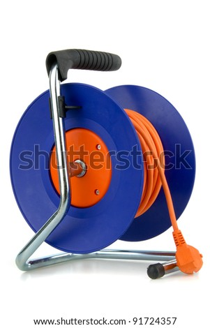 Prolongation electric cable, on white background. - stock photo