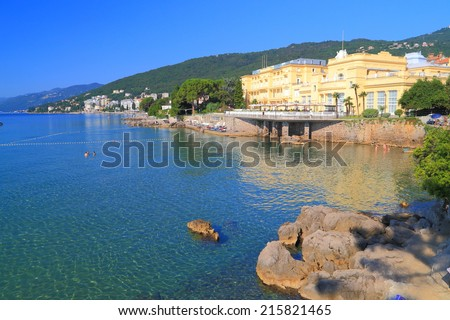 Promenade and beaches near the Adriatic sea, Opatija, Croatia - stock photo