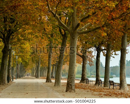 Promenade at Lake Balaton in autumn, Hungary Balatonfured