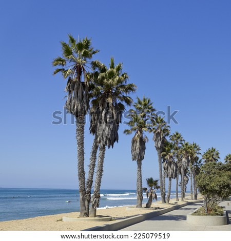 Promenade at Public city Beach in San Buena Ventura and distant Channel Islands, Southern California - stock photo