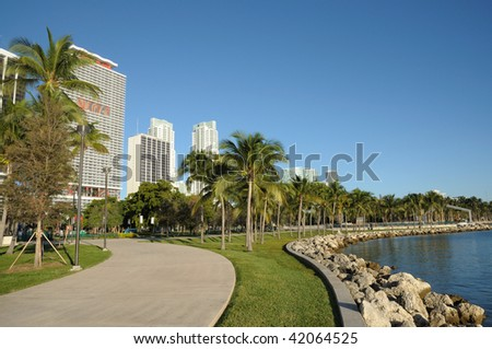 Promenade at the bayside of Downtown Miami, Florida