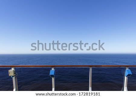 Promenade deck on luxury cruise ship - stock photo